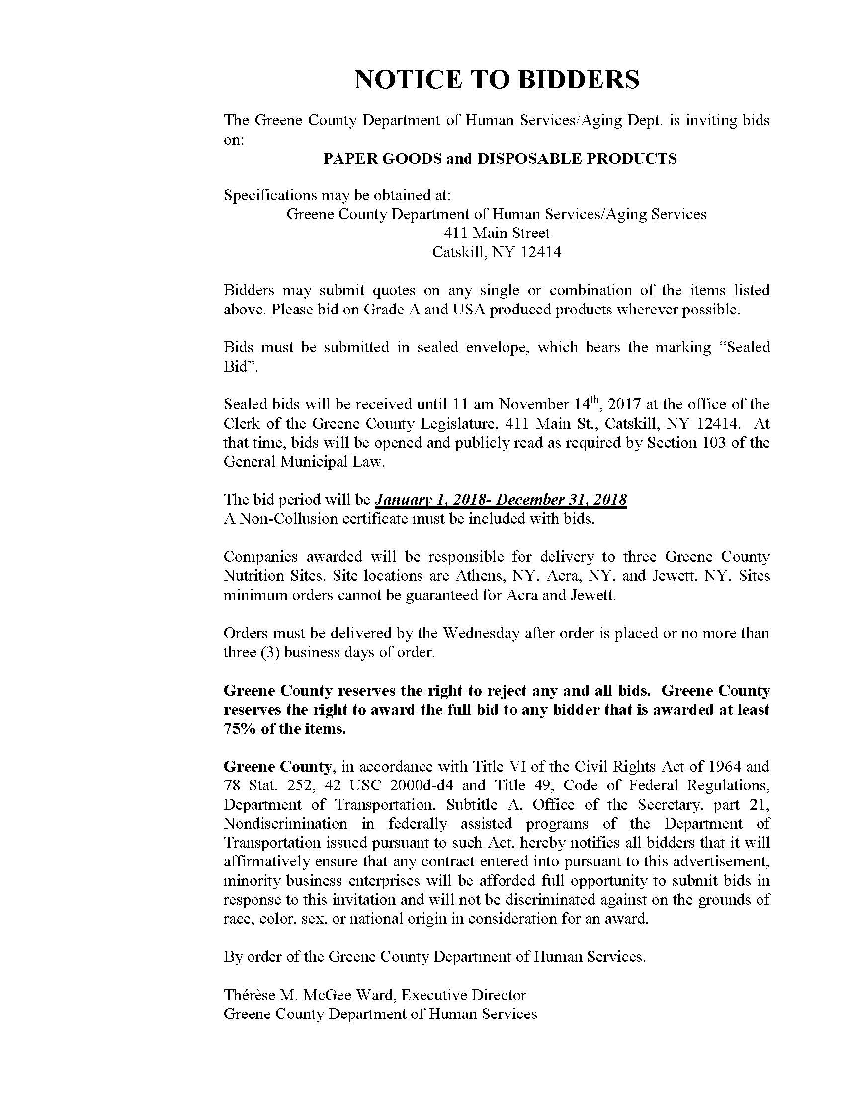 Notice To Bidders - Paper Goods & Disposable Products