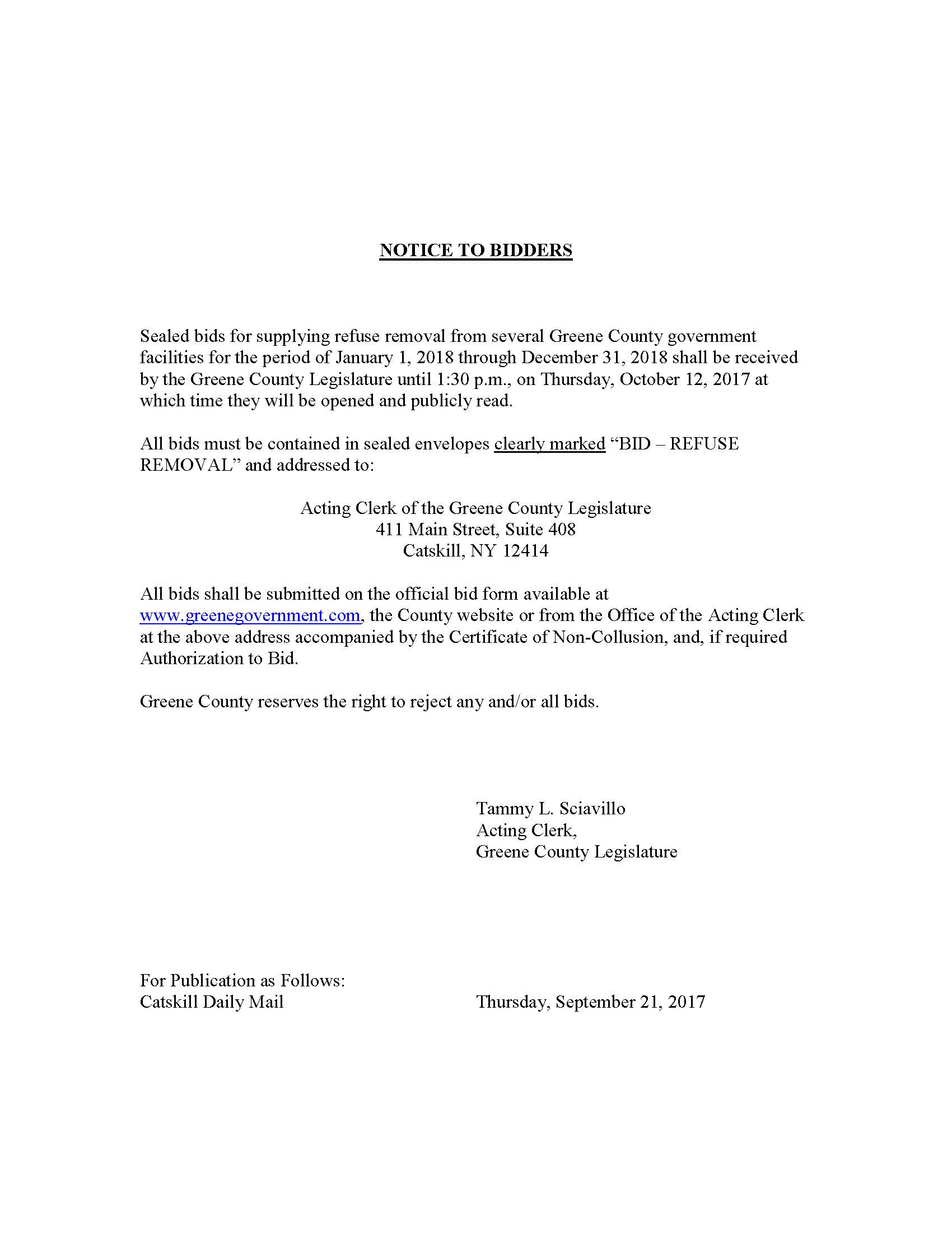 Notice To Bidders - Refuse Removal - Greene Government